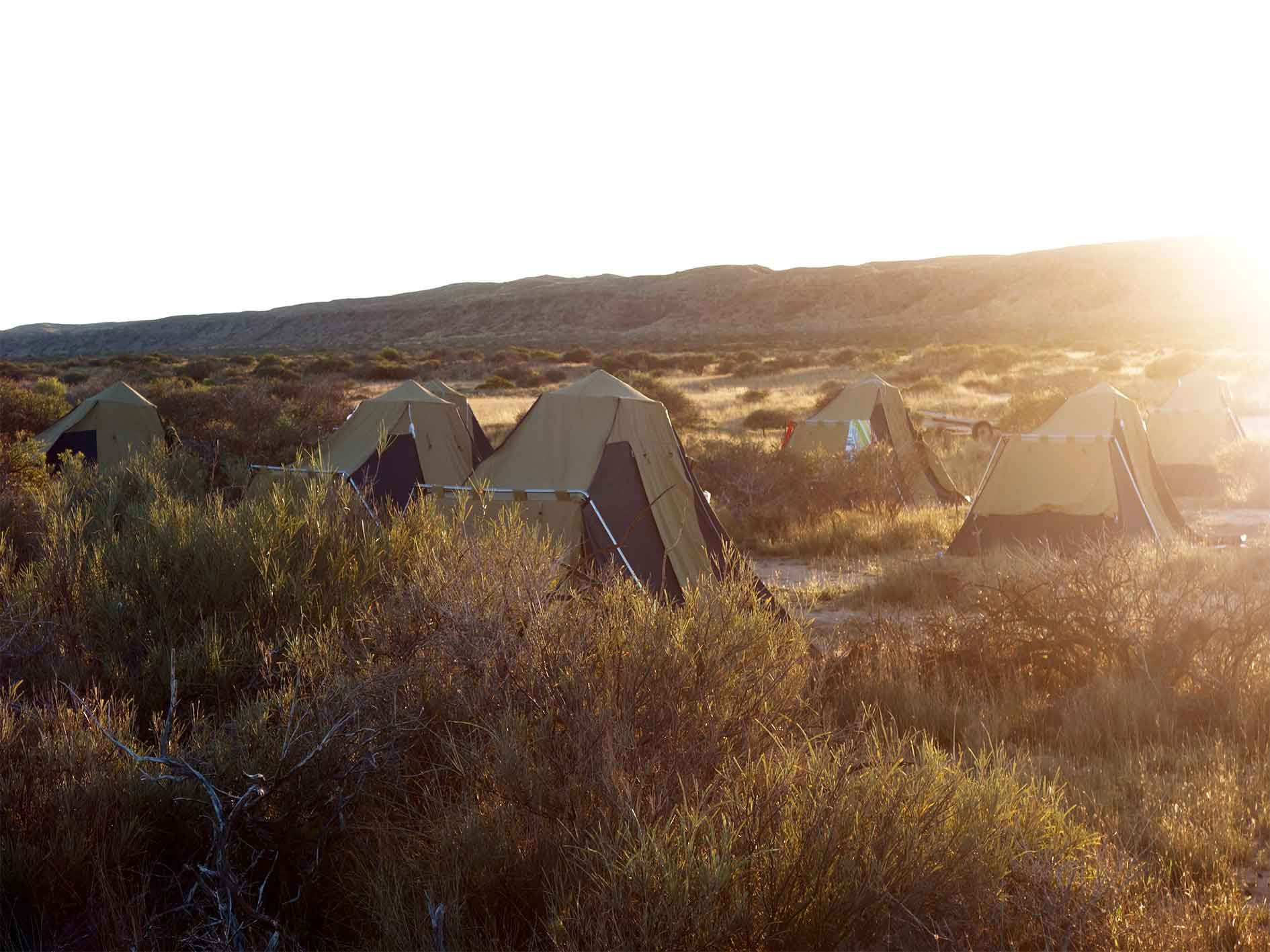 Comfortable camping base camp tents at sunset in Cape Range National Park on 5 day Ultimate Safari Tour sea kayaking, snorkelling, bushwalking and base camping tour