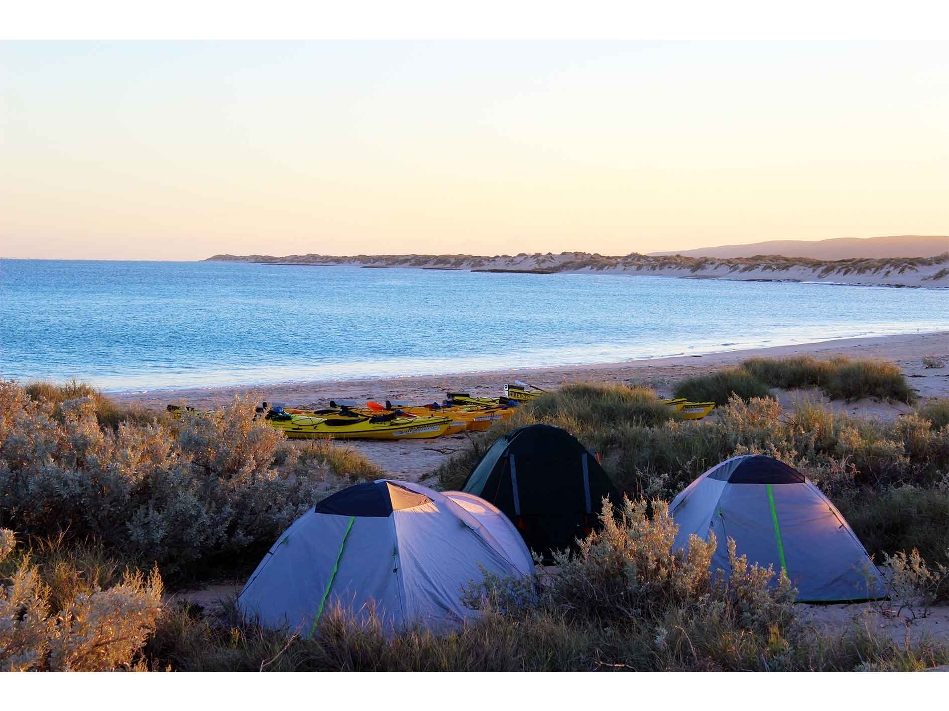 tents and kayaks on a beautiful beach at sunset on Exmouth Adventure Co's 3 day Reef and Beach sea kayaking, snorkelling and beach camping tour, Ningaloo Reef, Exmouth, Western Australia