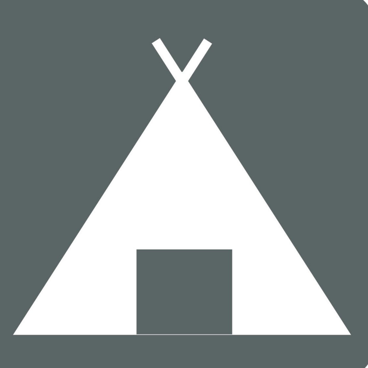 Icon or pictogram depicting a tent, representing camping at base camp in Cape Range National Park