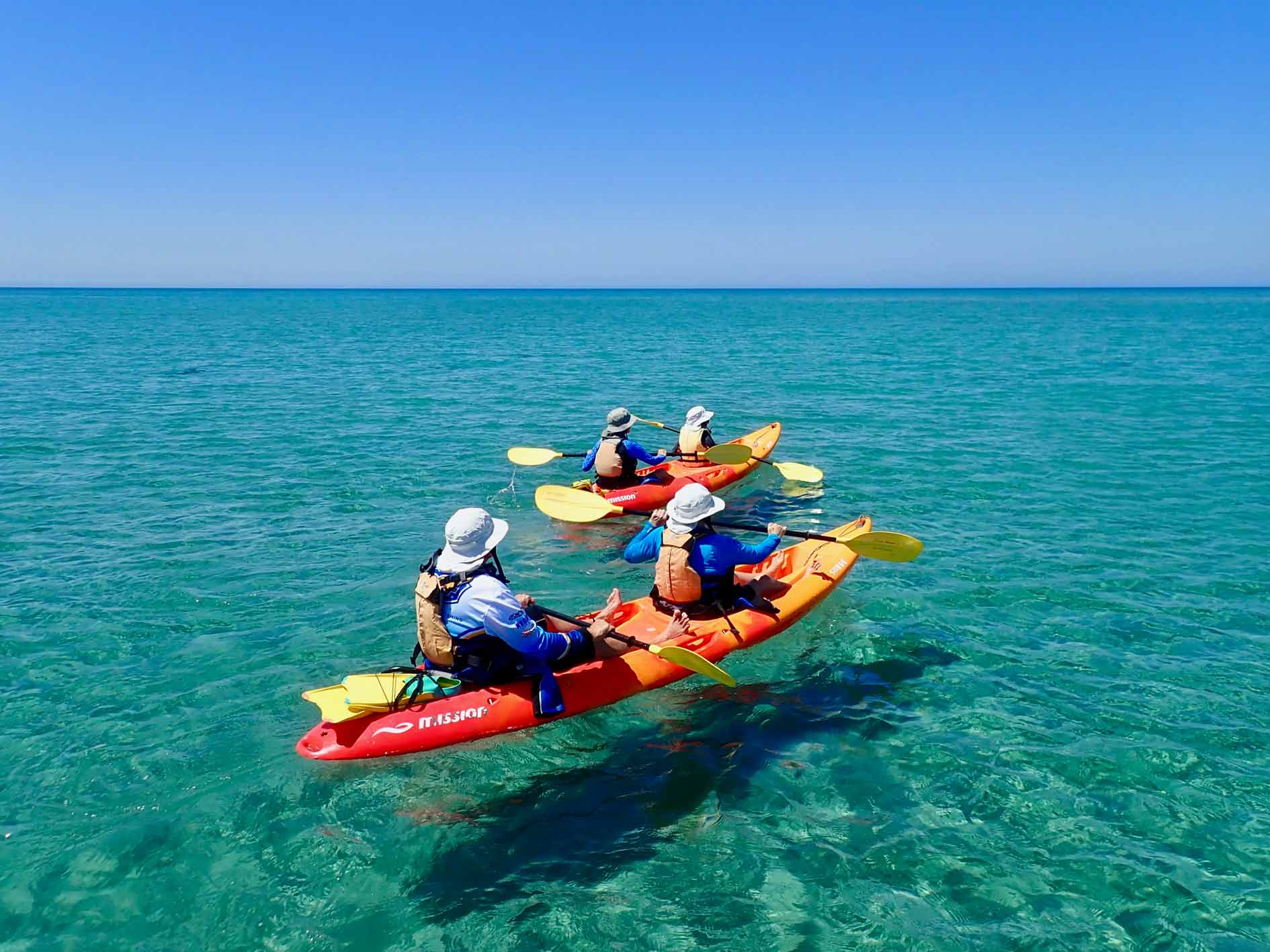 2 double sea kayaks paddling across clear turquoise water on half day sea kayak and snorkel tour, Turtle Tour at Ningaloo Reef, Exmouth, Western Australia