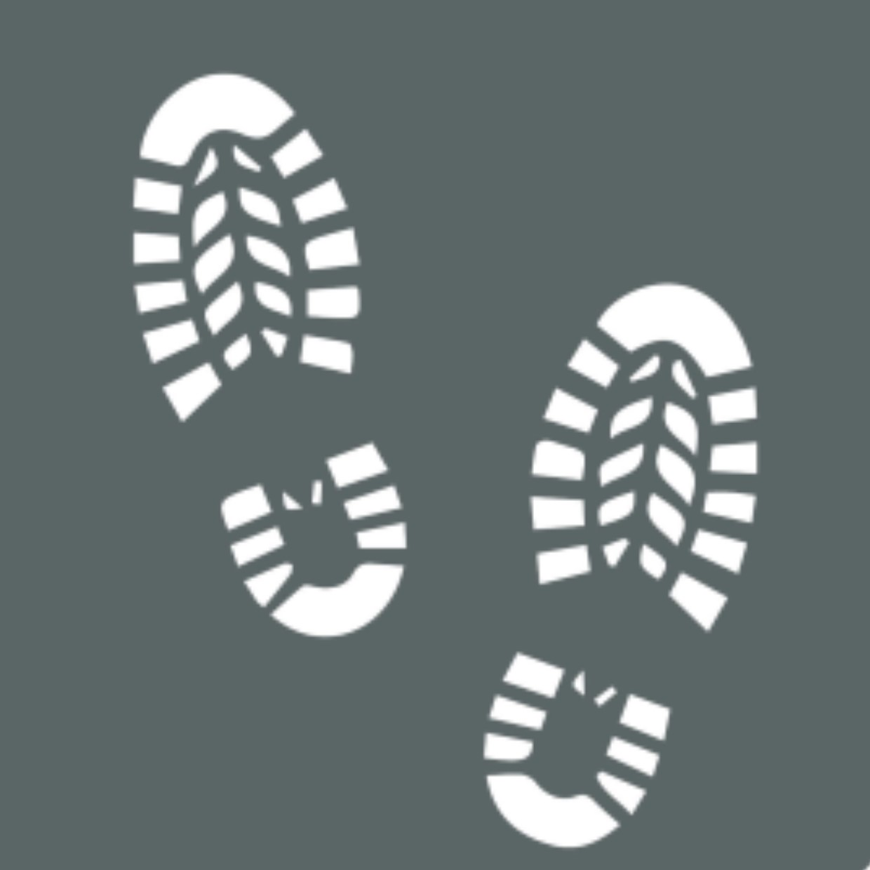 Icon or pictogram showing footprints, depicting guided bushwalking or gorge walking at Mandu Mandu gorge and Yardie Creek in Cape Range National Park
