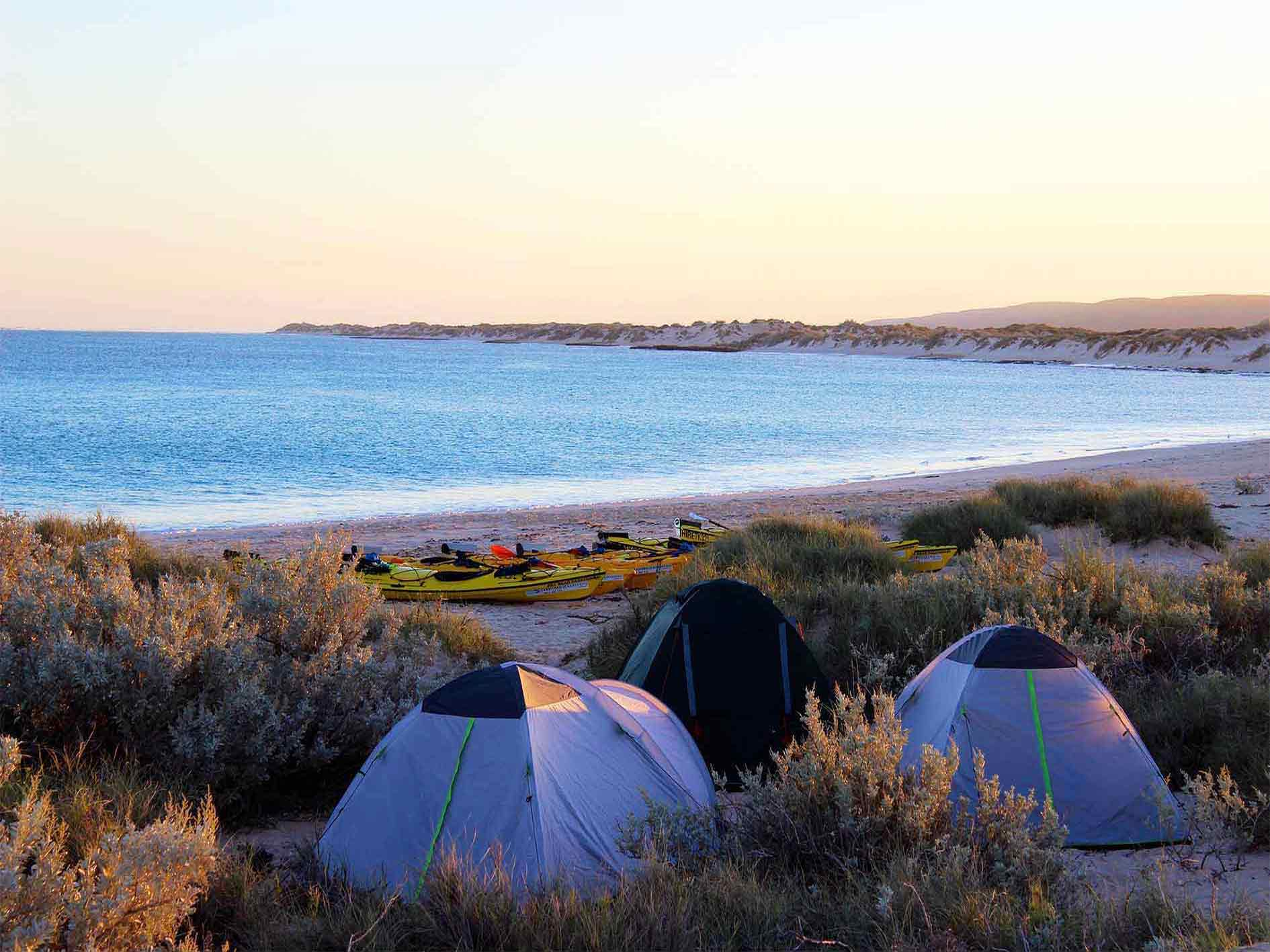 tents and kayaks on a beautiful beach at sunset on Exmouth Adventure Co's 3 day Reef and Beach sea kayaking, snorkelling and beach overnight camping tour, Ningaloo Reef, Exmouth, Western Australia